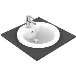 Ideal Standard Connect Lavabo empotrado redondo 480mm E5042 color Blanco con Ideal Plus E5042MA