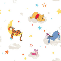 Kids at Home Papel de pared Pooh Rise and Shine blanco DF70799