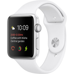 Apple Watch Series 2 42mm Caja de aluminio en plata con correa deportiva blanca Wifi