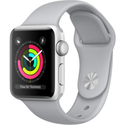 Apple Watch Series 3 38mm Caja de aluminio en plata con correa deportiva gris niebla Wifi