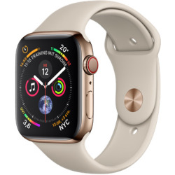 Apple Watch Series 4 44mm caja de acero inoxidable en oro y correa deportiva en color piedra Wifi Cellular