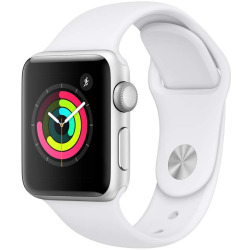 Apple Watch Series 3 38mm Caja de aluminio plata con correa deportiva blanco suave Wifi
