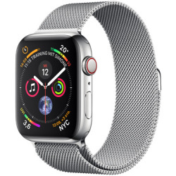 Apple Watch Series 4 44mm caja de acero inoxidable en plata y pulsera Milanese Loop en el mismo tono Wifi Cellular