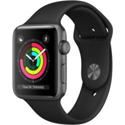 Apple Watch Series 3 42mm Caja de aluminio en gris espacial con correa deportiva negra Wifi